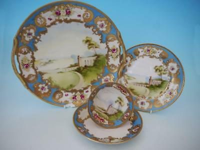Stunning Noritake Pedestal Trio & Plate - Hand Painted & Flowers & Jewelled Gild