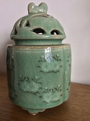 Chinese Celadon Lidded Pot with Foo Dog on lid