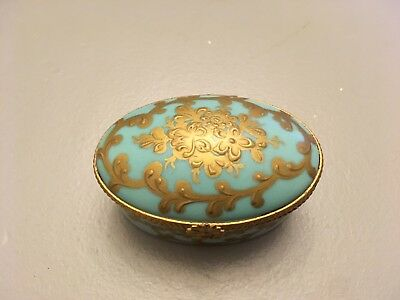 Gorgeous Vintage Turquoise, Limoges Box, Sumptuously Hand Painted In France