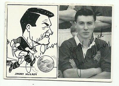 1950's B/w double trade card, ORIGINALLY SIGNED by JIMMY McILROY (Burnley)!
