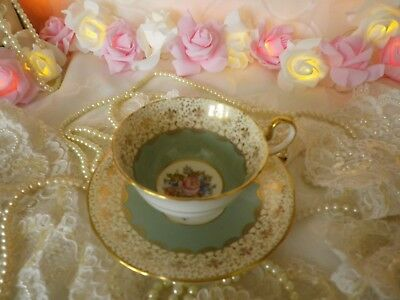 Stunning Vintage Aynsley Duo, Gilded Fleur-De-Lis Borders, Cabinet Cup, V.G.C.