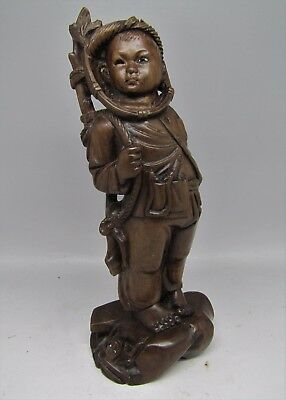 Antique Carved Wood Soldier Boy Okimono Wooden Japanese Chinese Meiji Carving