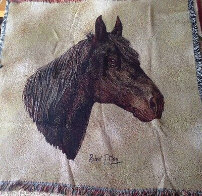 "Morgan Horse 54"" square Lap Cotton Woven Afghan Throw Blanket Robert May Art NEW"