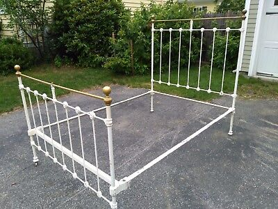 Antique full bed iron brass with rails