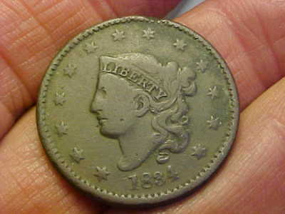 1834 Coronet Head  Large Cent  Very Good - Fine Nice Coin