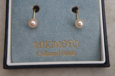 STYLISH VINTAGE MIKIMOTO 18ct GOLD & CULTURED PEARL STUD EARRINGS~SCREW FITTING