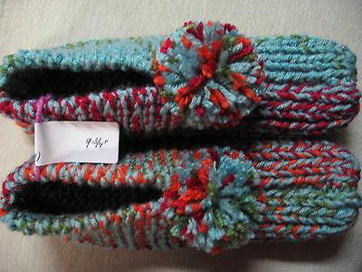 NWOT Amish Hand Knitted House Slippers Fruit Punch Mix Wms Lg Mans Med 9 3/4""