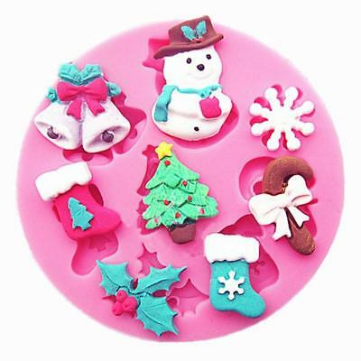 Christmas Cake 3D Silicone Snowman Stencils Cookie Form Kitchen Mold Baking Tool