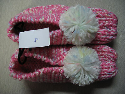 New Amish Handmade Knit House Slippers Pink/Pastels Womans Small Mans XX Sm 8""