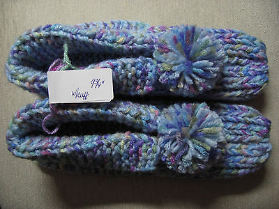 Amish Handmade Knitted Hs Slippers w/ Cuffs Pastels Womans Lg Mans Med 9 3/4""