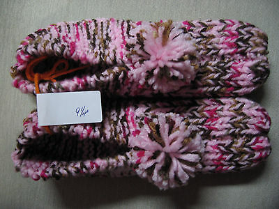 New Handmade Knit House Slippers Pink Multi Colored Med/Lg Mans Sm/Med 9 1/4""