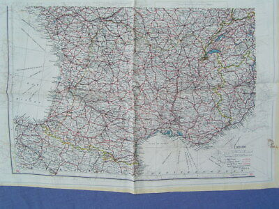 Ww2 Era Silk Escape Map Double-Sided Southern France & Spain Excellent Condition