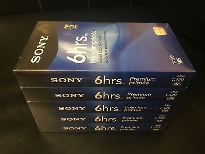 Sony 6 Hrs T-120 VHS Tapes 5 Pack Blank Sealed Premium Grade NEW