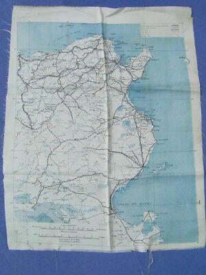 Ww2 Era Silk Escape Map Single Sided Tunisia & Tunis Excellent Condition