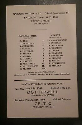 Carlisle United v Hearts Friendly July 1969