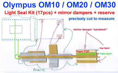 17pcs. Light seal kit +mirrordampers PRECISELY PRECUT to fit OLYMPUS  OM10-20-30