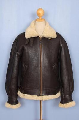 Vtg B-3 Sheepskin Leather Air Force Flight Jacket Size Small