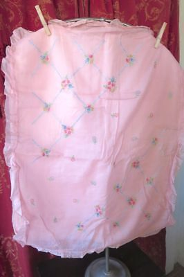 1920s-1930s PINK ORGANDY EMBROIDERED BABY DUVET COVERLET
