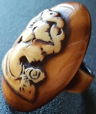Antique Victorian Vintage Cameo Ring Size 8.5 Carved Woman Lady Flower Huge W132