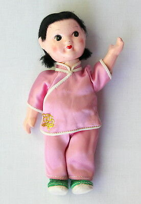 VTG Hand Painted Chinese Asian Girl Pig Tails Pink Articulated Composite Doll