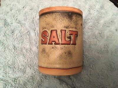 Tremar Cornish Studio Pottery Salt Canister with Lid.                     (0235)