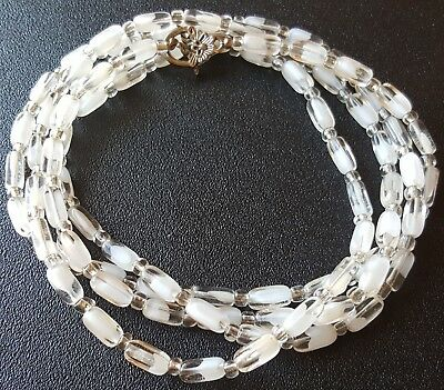 "Vintage 44"" Necklace Elongated Translucent Frosted Givre Glass Bead Classic W136"