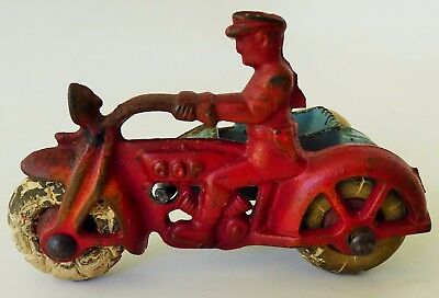 """Hubley Cop Motorcycle With Side Car & Driver Cast Iron Toy 4"""" Large"""