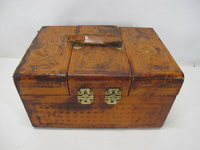 Antique Art Nouveau Tooled Leather Mens Travel Train Vanity Case Box Trunk yqz