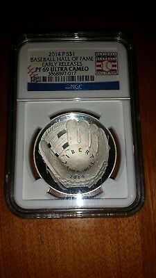 2014-P $1 Baseball Hall of Fame Early Release Proof 69 Ultra Cameo