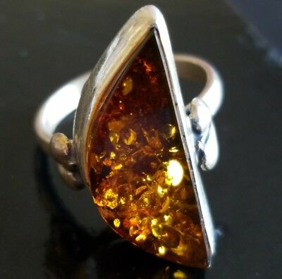 Signed 925 Vintage Ring Size 8.5 Amber Sterling Silver Moon Boho Bohemiam W213
