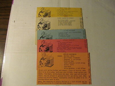 Reddy Kilowatt 1950-5 Recipe Cards