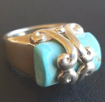 Signed XS 925 STERLING SILVER Vintage Ring Size 6 Genuine Turquoise Swirl W215