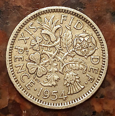 UK (Great Britain) 1954 Six Pence (Wedding Good Luck Coin) - #1168