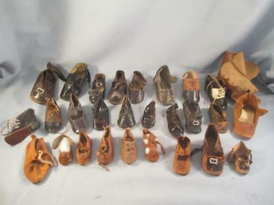 Antique German Bisque Doll SINGLE SHOE Black or Brown Leather & Oil Cloth Lot