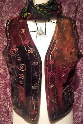 Beautiful Vintage Boho Hippy Velvet Tie Dyed Waistcoat