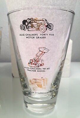 Rare 1955 Vintage Allis Chalmers Glass Decorated w/ Gold Construction Equipment