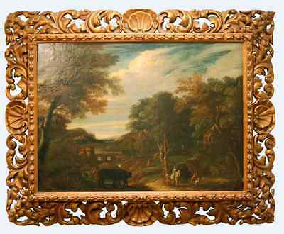 18th century English School Pastoral Landscape Painting with Original Frame
