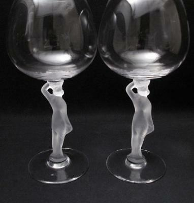 Pair Of Vintage Frosted Nude Naked Lady Stem Wine Crystal Glasses Art Deco