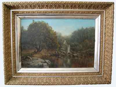 Antique 19th century Signed French Landscape Oil Painting by Alait