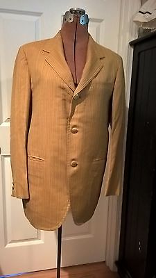Men's vintage suit jacket blazer 1970s gold yellow tan pinstripe Stanley Blacker