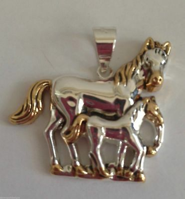 "Horse Pony Pendant Foal Gift Jewelry Triple plated Metal Nickel Lead Free 1.5"" L"