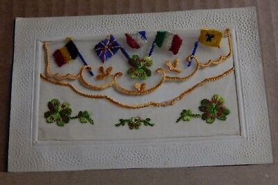WW1 Silk postcard Allied Flags Lucky four leafed Clover.