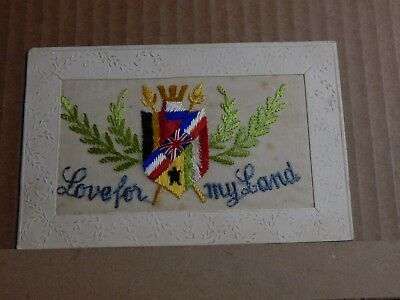 WW1 Silk postcard Love for My land Allied Nation Flags  unposted