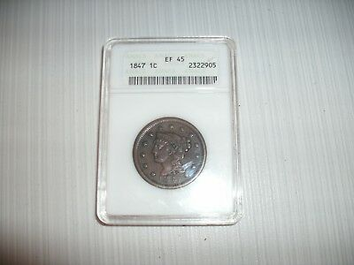 1847 Large Cent Anacs Graded Ef 45