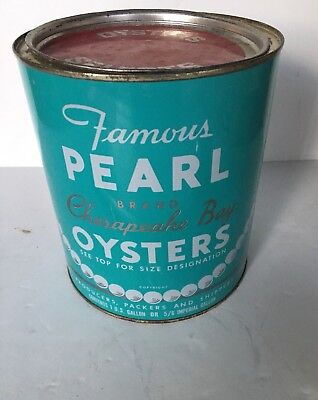 One Gal.Can w/Lid  Famous Pearl Chesapeake Bay Oysters / Annapolis,MD V. NICE!!
