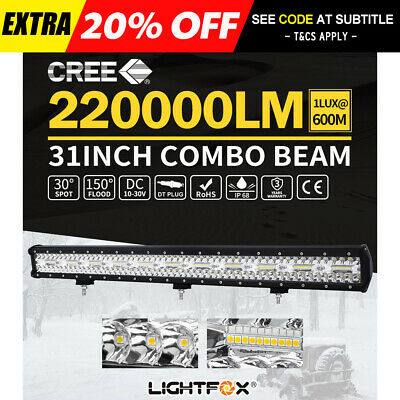 31inch CREE LED Light Bar Triple Row Spot Flood OffRoad Driving Work 4WD Reverse