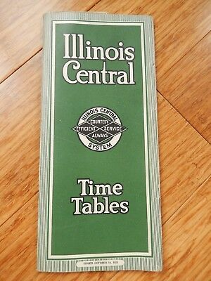 Vintage 1928 Illinois Central System Railroad Timetable & Map Brochure