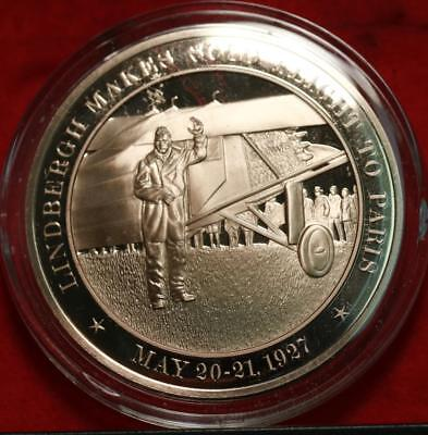 Uncirculated Franklin Mint .999 Bronze 1oz Round Lindbergh Solo Flight Free S/H
