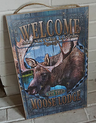 WELCOME NATURE LOVERS TO THE MOOSE LODGE Rustic Log Cabin Home Decor Sign NEW