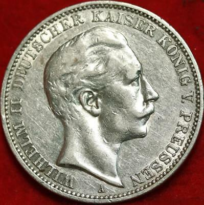 1910 Germany 3 Mark Silver Foreign Coin Free S/H